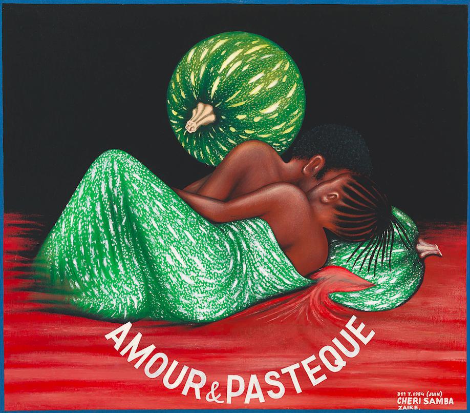 Chéri Samba, Amour & Pastèque, 1984 Oil on canvas, 79 x 89 cm Private collection © Chéri Samba Photo © Florian Kleinefenn